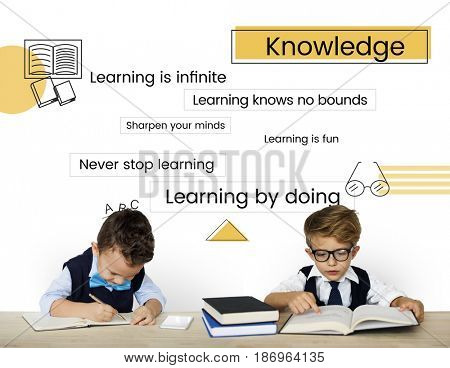 Kids classmates studying with education word graphic