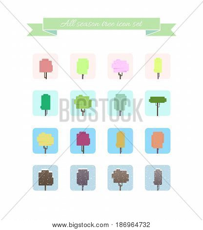 All season tree icon set vector. Colorful trees