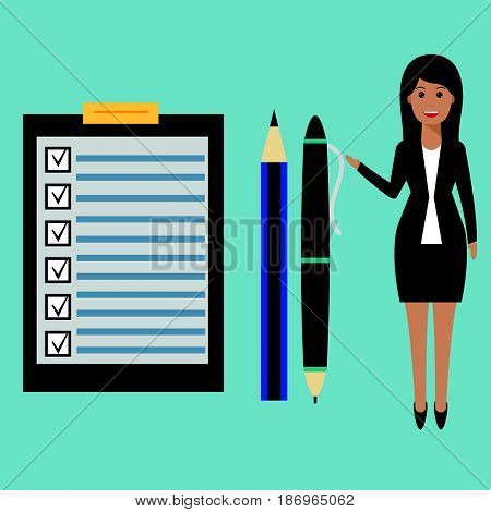 Happy businesswoman points to checklist pen and pencil. To-do list and planning project with office supplies. Flat icon modern design style illustration concept.