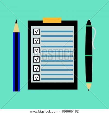 Clipboard with blank checklist form (to-do list and planning project) and pencil pen (office supplies) on blue background. Flat icon design style illustration concept.....