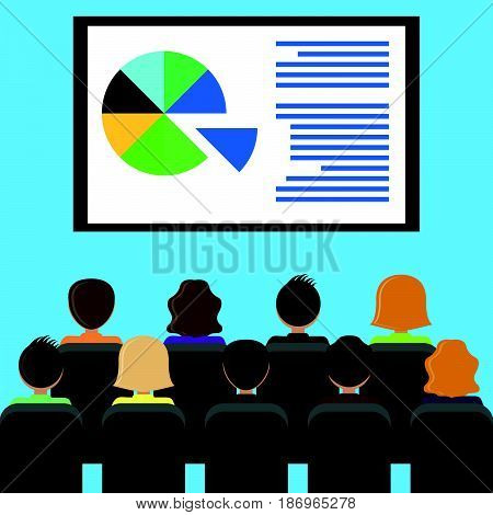 Projector screen with financial report presentation. Training staff meeting report business school. Illustration in flat style.