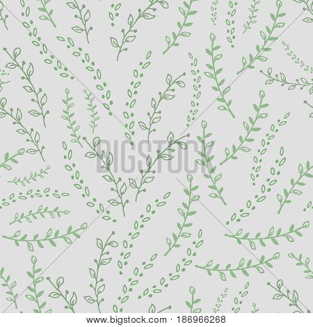 Seamless pattern with green twigs on white background. Vector illustration.