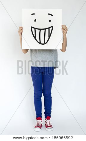Illustration of smiley face on banner