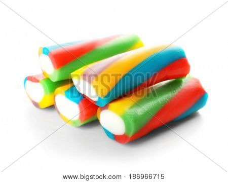 Tasty jelly candies on white background