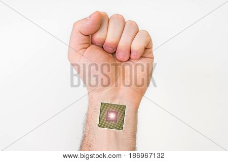 Bionic microchip inside human hand - future technology and cybernetics concept poster