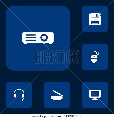 Set Of 6 Notebook Icons Set.Collection Of Headset, Display, Photocopy And Other Elements.
