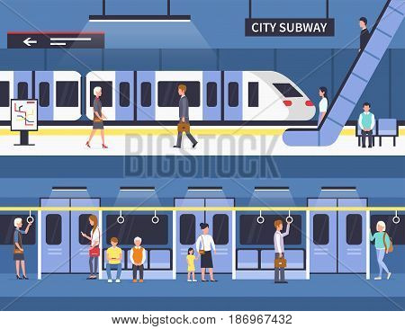 People in city subway. Passengers at subway station platform and inside underground train. Vector concept illustration. Infographic elements.