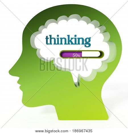 Thinking word and loading bar iin the brain. 3D illustration.