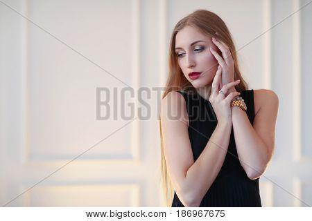Fashion. Woman in black dress