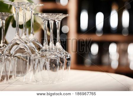 Set of empty wineglasses on table, closeup