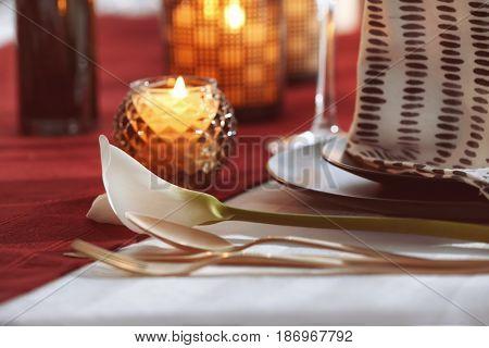Cutlery set on table, closeup