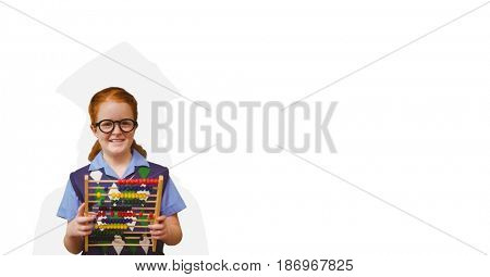 Digital composite of Smiling schoolgirl holding abacus with graduation shadow on back