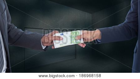 Digital composite of Midsection of businessmen holding money representing corruption