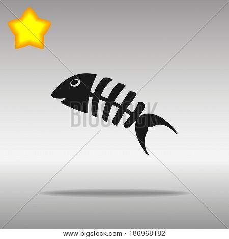 Fish bone black Icon button logo symbol concept high quality on the gray background