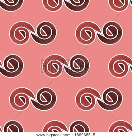 Abstract geometric seamless background. Regular spirals pattern red brown and dark brown with white outlines on pastel red.