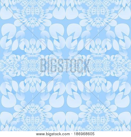 Abstract geometric seamless background. Regular ellipses ornaments in pastel blue shades.