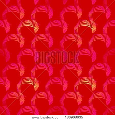 Abstract geometric seamless modern background. Regular curved pattern yellow, orange, magenta and violet on deep red, diagonally.