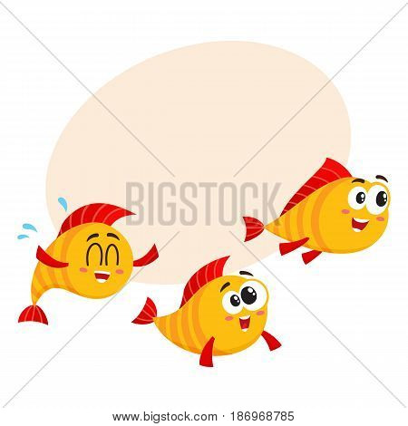 Shoal of three smiling funny golden, yellow fish characters speeding somewhere, cartoon vector illustration with space for text. Yellow fish characters, mascots swimming, rushing