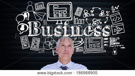 Digital composite of Senior businessman looking up at text surrounded by icons
