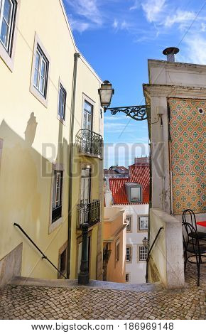 The typical streets of old Lisbon on a sunny summer day Portugal