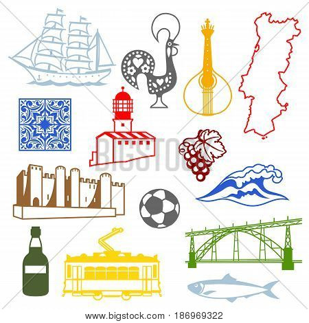 Portugal icons set. Portuguese national traditional symbols and objects.