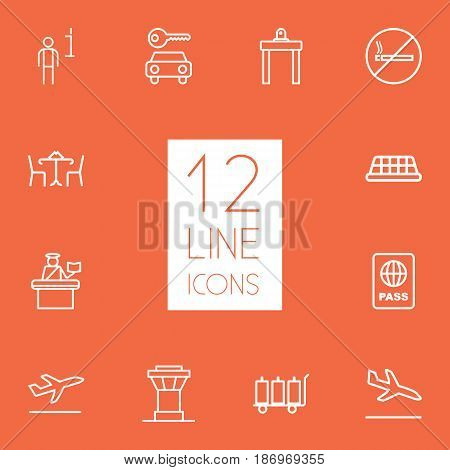 Set Of 12 Aircraft Outline Icons Set.Collection Of No Smoking, Flight, Data And Other Elements.