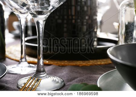Wineglass on table, closeup