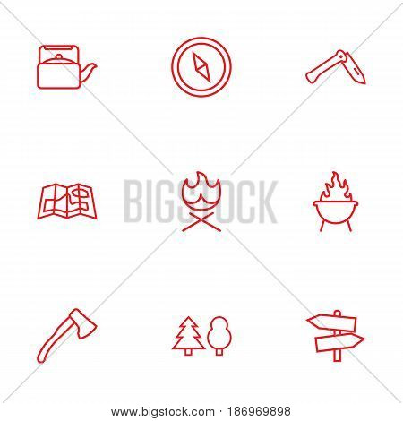 Set Of 9 Outdoor Outline Icons Set.Collection Of Grill, Gps, Ax And Other Elements.