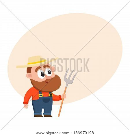 Funny farmer, gardener character in straw hat and overalls holding hayfork, pitchfork, cartoon vector illustration with space for text. Comic farmer character, design elements
