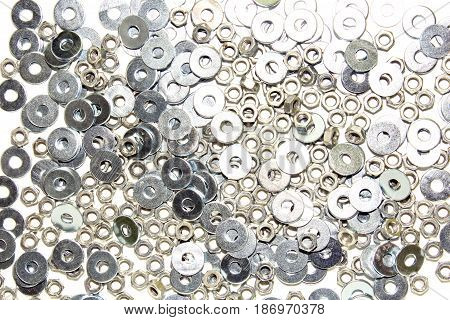 Metal washers on a white background. Foto