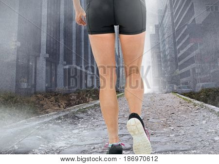 Digital composite of legs Walking or jogging on path in city