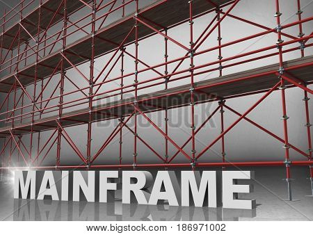 Digital composite of 3D word mainframe in front of scaffolding in grey room