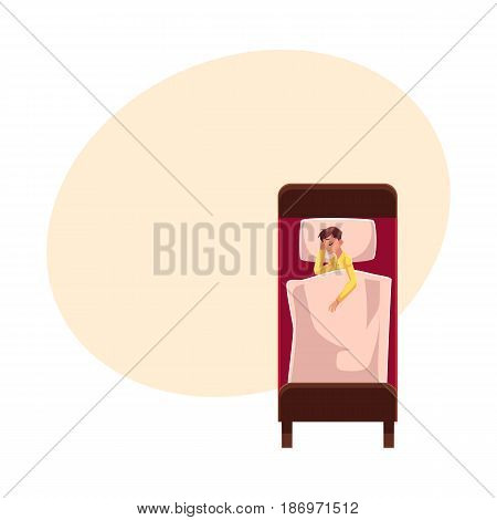 Man sleeping in bed under blanket, wearing pajamas, lying on side, top view cartoon vector illustration with space for text. Top view of man sleeping on side in pajamas, lying in bed under blanket