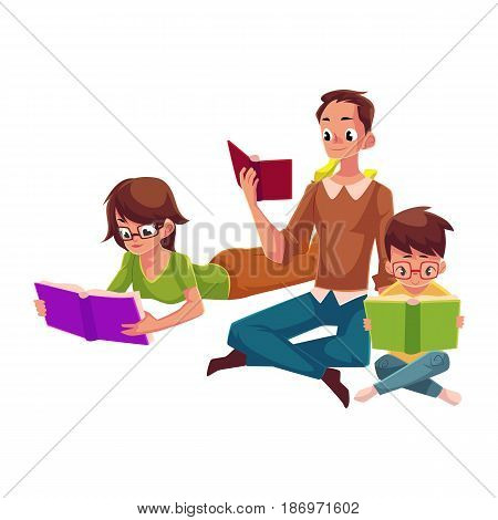 Man, woman, boy reading books sitting and lying on floor, cartoon vector illustration isolated on white background. Man, woman and boy, father, mother and son reading books, sitting, lying on floor