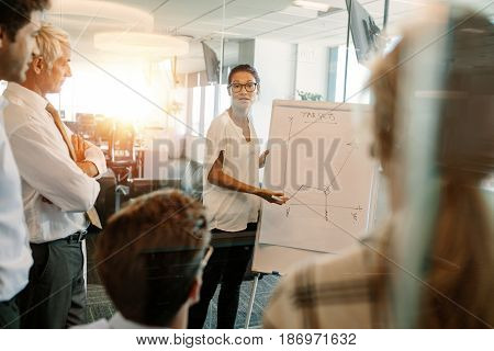Asian businesswoman giving presentation to coworker over flip board. Female executive explaining statistics to colleagues during a meeting.