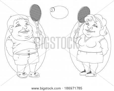 two very fat people - the twins the woman in the polka dot dress and f in jeans and t-shirt playing tennis. black and white drawing for coloring.