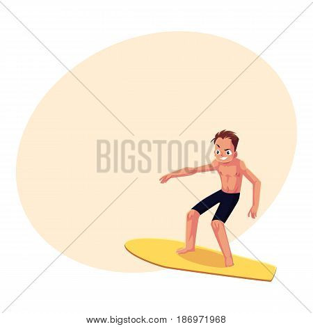 Man riding surfboard, enjoying summer water activities, cartoon vector illustration with space for text. Full length portrait of young man in shorts riding surfboard