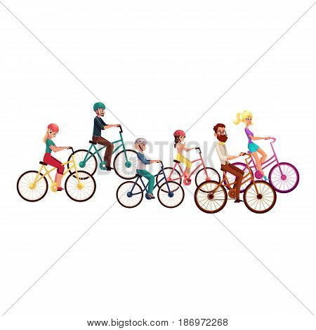 Various people, men and women, riding bicycles, cycling, cartoon vector illustration isolated on white background. Young people, group, crown riding bicycles, cycling, summer outside activities