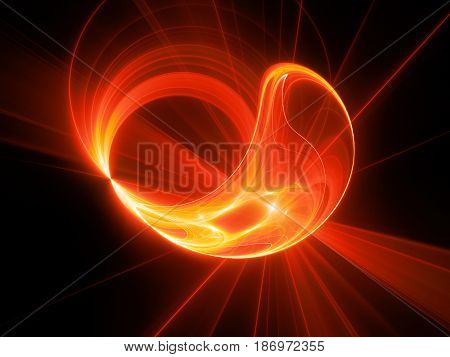 Fiery red glowing high power plasma disc in space computer generated abstract background 3D rendering
