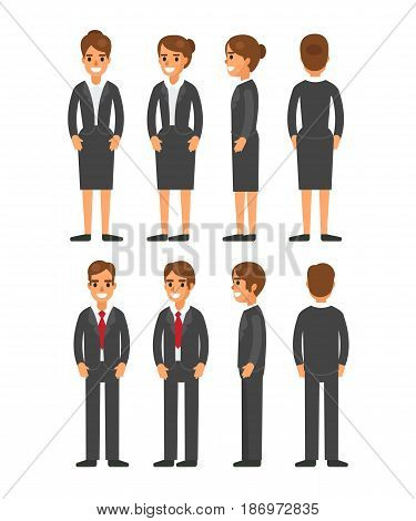 Female and male character in different poses. Set of various women's and men's faces hairstyles hands legs. Vector illustration.