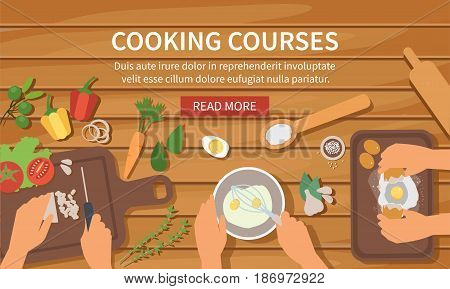 Vector cooking web banner with wooden background. Cooking class bakery recipes.