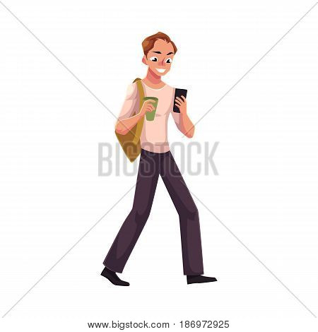 Man using smartphone, mobile phone on the go, walking with backpack and coffee cup, cartoon vector illustration isolated on white background. Full length portrait of man using mobile phone on the go