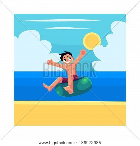 Kid, boy, child riding swim ring, enjoying summer water activities, cartoon vector illustration. Full length portrait of boy, riding inflatable swim ring in sea, ocean, under blue sky