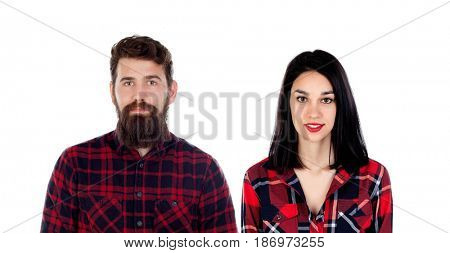 Young hipster couple with red plaid shirt isolated on a white background