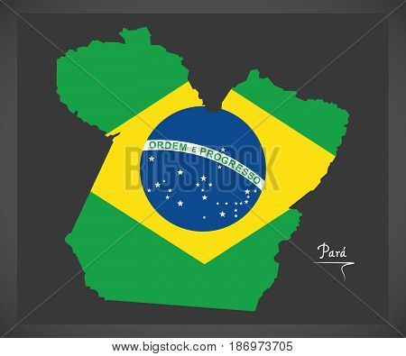 Para Map With Brazilian National Flag Illustration