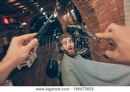 Oh Noo! New Hairdresser. Shocked Red Bearded Young Man Is Worried About His Haircut In A Barber Shop