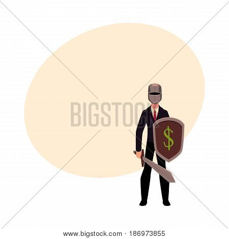 Businessman as a knight in metal helmet holding sword and shield, cartoon vector illustration with space for text. Modern knight in business suit and helmet armed with sword and shield