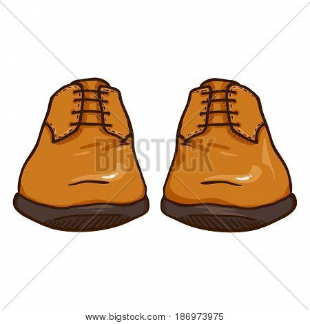 Vector Cartoon Illustration - Pair Of Leather Men Shoes