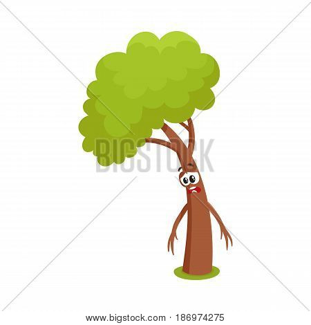 Funny comic tree character feeling sad, upset, discouraged, showing despair, cartoon vector illustration isolated on white background. Funny tree character, mascot with human face, feeling sad, upset