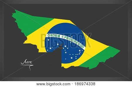 Acre Map With Brazilian National Flag Illustration